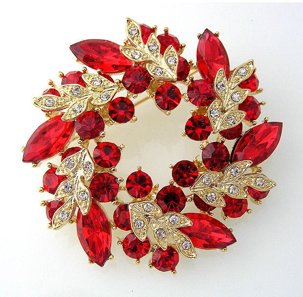 Broche fleur de guirlande en cristal strass rouge plaqué or de 2 pouces