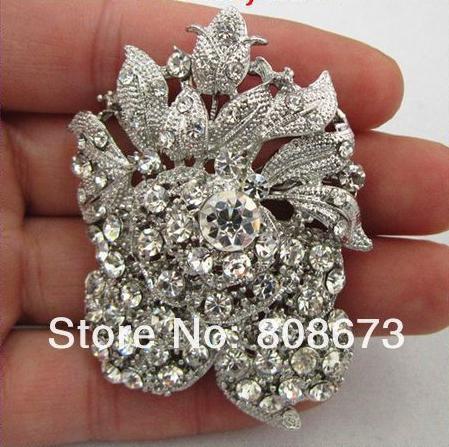 Broche de bouquet de mariage fleur de cristal strass clair plaqué argent style vintage