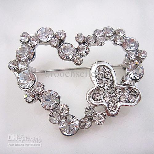 Silver Tone Heart and Butterfly Rhinestone Crystal Diamanted Broche