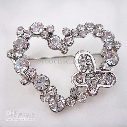 Ton argent coeur et papillon en strass cristal Diamanted Broche