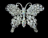 hermosos broches al por mayor-Hermosa broche de mariposa de gran tamaño en tono plateado claro y claro de AB de cristal
