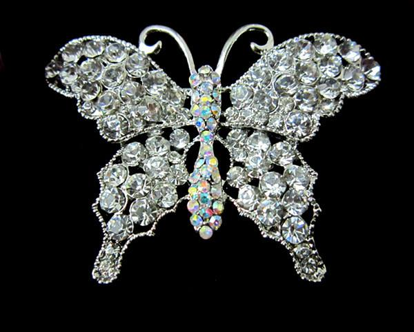 Beautiful Silver Tone Clear and Clear AB Crystal Large Size Butterfly Brooch