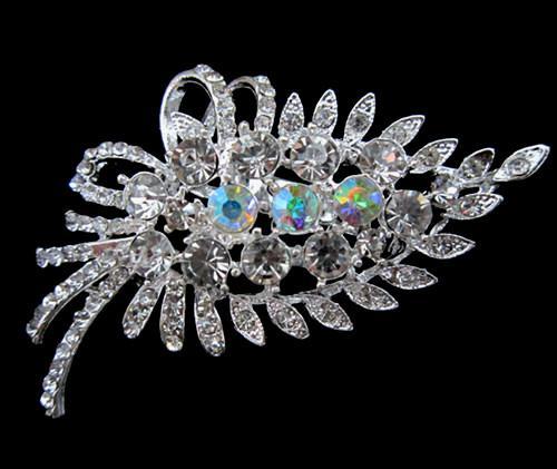 Broche de cristal banhado a prata claro strass cristal Bunch flor folha