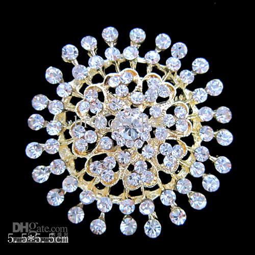Grande taille en plaqué or clair strass cristal coeur broche ronde