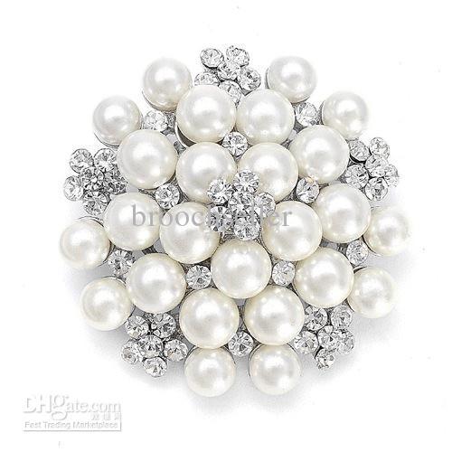 Vintage Silver Tone Rhinestone Crystal Diamante y Faux Cream Pearl Cluster Gran ramo de novia Pin Broche Invitación de boda Pernos de la joyería