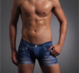 Wholesale Silk Boxers Free Shipping - Free shipping Fashion Men's Sexy Faux denim silky milk silk casual panties men's boxer shorts underwear