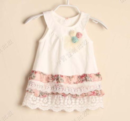 Wholesale Girls Lace Jumpers - White Dresses Fashion Princess Dress With Flower Jumper Skirt Children Wear Girls Cute Printed Lace Dresses Baby Summer Dress Tiered Dresses
