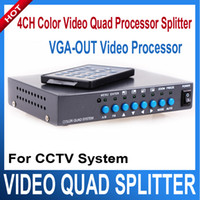 Wholesale Cctv Color Splitter - 4CH Color Video Quad Splitter Processor VGA-OUT 4 Channel Digital Color Quad VGA-OUT Video Processor Splitter BNC Switcher for CCTV System