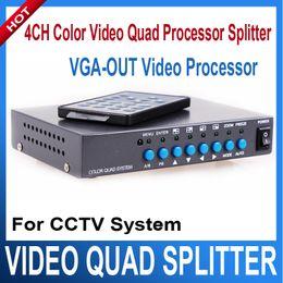 Wholesale Color Video Quad Splitter - 4CH Color Video Quad Splitter Processor VGA-OUT 4 Channel Digital Color Quad VGA-OUT Video Processor Splitter BNC Switcher for CCTV System