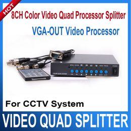 Wholesale Cctv Color Splitter - 8CH Color Video Quad Splitter Processor Digital Color Quad VGA-OUT Video Processor Splitter BNC Switcher for CCTV System