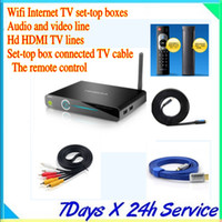 Linhas de TV Android Wifi Internet TV set-top boxes + áudio e vídeo de linha + Hd HDMI + Set-top box de TV a cabo conectado + controle remoto Overseas Chinese