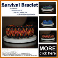 Wholesale Wholesale Custom Whistles - Custom 550 Paracord Parachute survival Bracelets Hand Made with whistle 80 colors