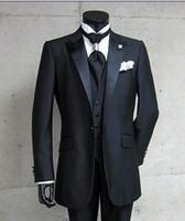 botões de cetim venda por atacado-Foto Real Um Botão Preto Noivo Smoking Pico Lapela De Cetim Melhor homem Groomsman Homens Ternos De Casamento Noivo (Jacket + Pants + Tie + Vest) A: 299