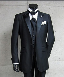 Foto real One Button Black Groom Txedos Peak Satin Sapel Best Man Groomsman Men Trajes de boda Bridegroom (chaqueta + pantalones + corbata + chaleco) A: 299
