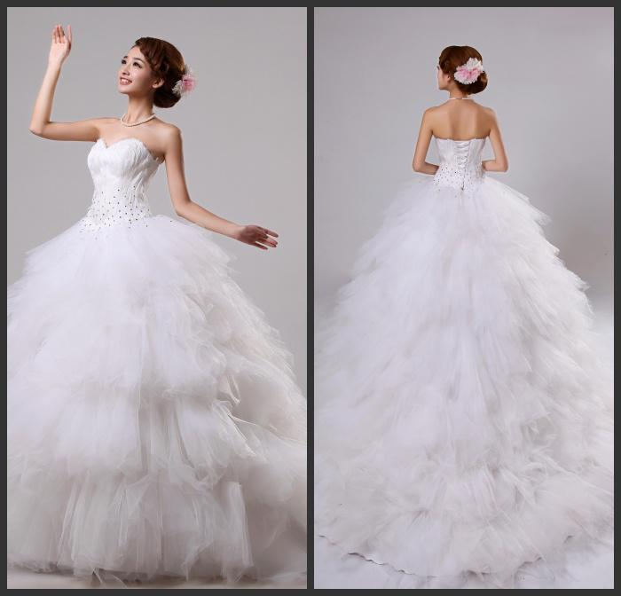 New Arrival Ball Gown Sweetheart Chapel Train White Organza Tulle Velvet Beads Sequins Cheap Bridal Dresses Wedding Gowns