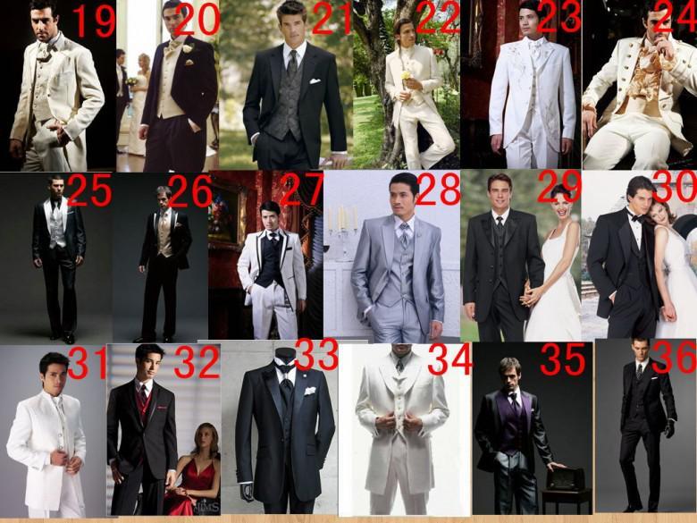 Photo Photo One Black Groom Groom Tuxedos Peak Satin Bavero Best Man Groomsman Uomo Abiti da sposa Suits Bridegroom Giacca + Pantaloni + Tie + Vest A: 299