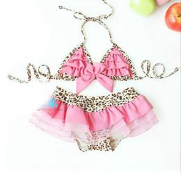Wholesale Hot Pink Swimsuit 4t - BY03 Fashion Hot Gift Cake Style Leopard bathing Baby Toddler Swimsuit Bikini Kids Girls With Hat Swimming Swim Wear Beachwear