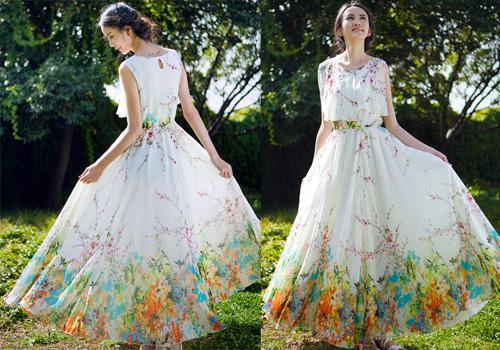 Nouvelle Arrivée D'été Femmes Sans Manches Imprimer Floral Mousseline de Soie Robe Bohème Longue Robe Maxi Robes de Plage Robe
