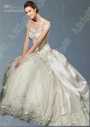 Wholesale Essence Bridal - 2016 Collection Essence Best-selling A-Line Wedding Dresses Taffeta Lace Wedding Dress Bridal Gown 7507 2015 Chapel train