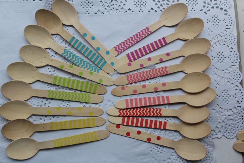 "6.25"" Wooden Utensils Cutlery Set Disposable Wooden Spoon Fork Knife in Rainbow Chevron Stripe Polka Dots Free Ship DHL/EMS/FEDEX"