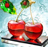 Wholesale Glass Car Fragrance Bottles - Double Crystal Cherry Perfume Jars Glass Fragrance Scent Bottle Car Freshener Personal Favors