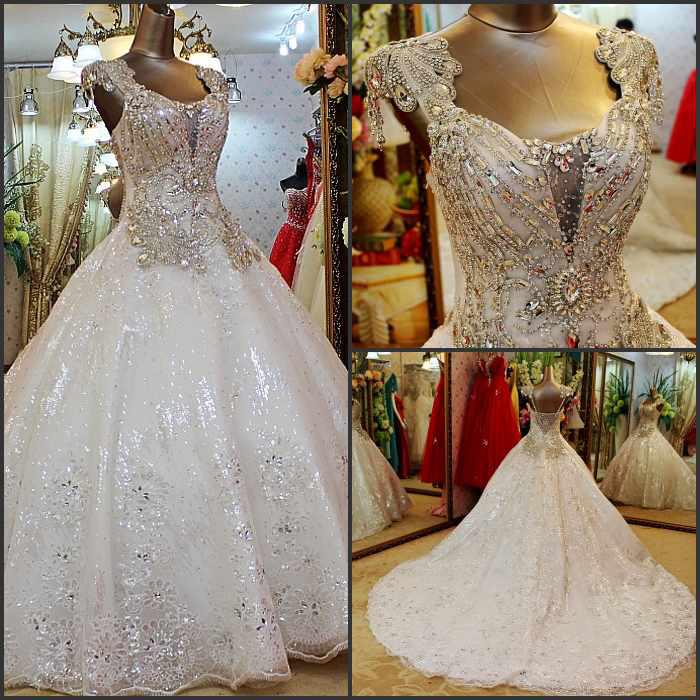 Discount Newest Gorgeous Wedding Gowns Rhinestone Shining Empire ...