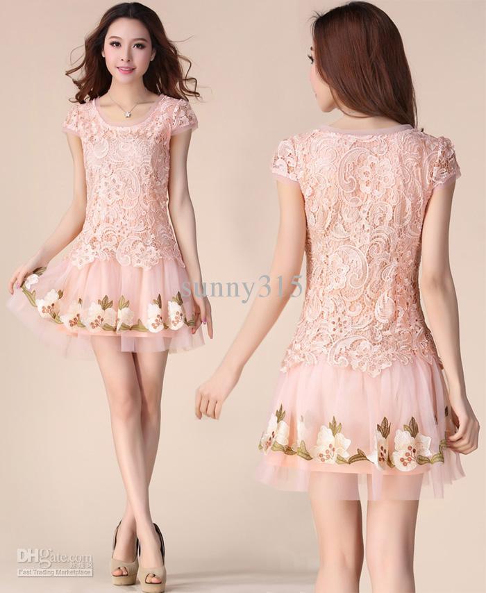 Robes d'été coréenne femmes princesse broderie maille dentelle robe Plus la taille sexy mini robe moulante jupe courte