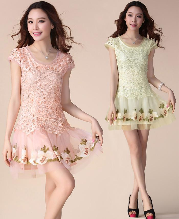 7e239f06fb47c Summer Dresses Korean Women Princess Embroidery Mesh Lace Dress Plus Size  Sexy Mini Bodycon Dress Short Skirt Cheap Evening Dress Discount Cocktail  Dresses ...