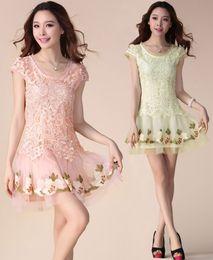 Wholesale Korean Lace Dress Xl - Summer Dresses Korean Women Princess Embroidery Mesh Lace Dress Plus Size Sexy Mini Bodycon Dress Short Skirt
