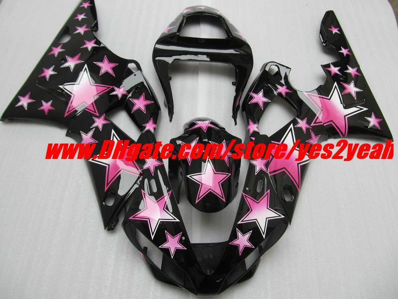 Kit de carenado Pink Stars Black para YAMAHA YZF R1 YZF-R1 2000 2001 YZF1000 YZFR1 00 de carenados + 7gifts