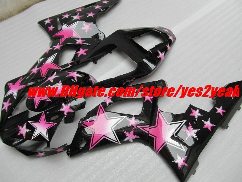 핑크 별 블랙 페어링 키트 for YAMAHA YZF R1 YZF-R1 2000 2001 YZF1000 YZFR1 00 01 페어웨이 우즈 세트 +7gifts