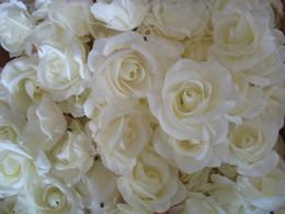 Wholesale Kiss Heads - Cream Colour Rose Flower Heads 100pcs Diameter 7-8cm Artificial Silk Camellia Rose Peony Flower Head for Wedding Centerpieces Kissing Balla