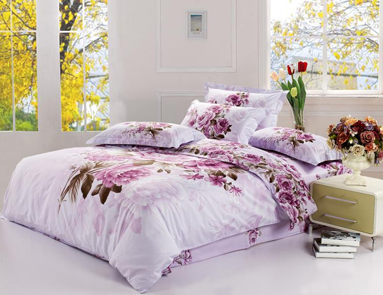 New King Size Bedding Set Purple Floral Quilt Cover Bed