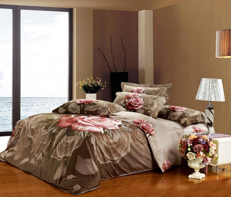 High Quality King Size Brown Bedding Set Grey Rose Floral