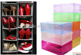 Wholesale Transparent Shoe Box Organizers - New Arrival Transparent Stackable Crystal Clear Plastic Shoe Clamshell Storage Boxes 10pcs per lot Free Shipping
