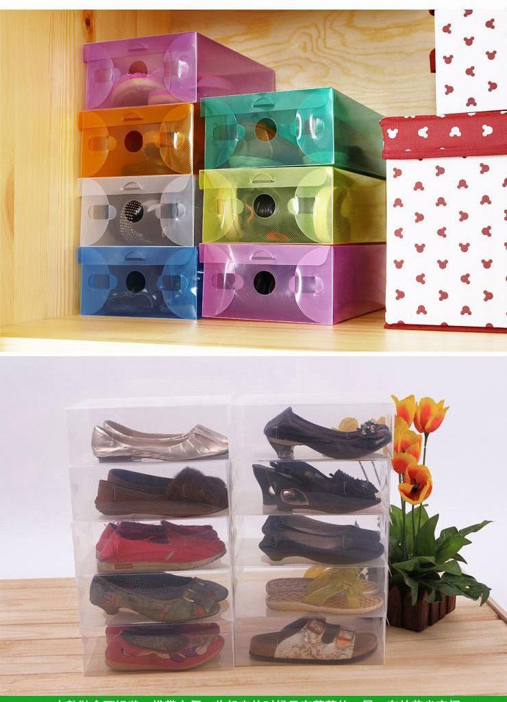 Yeni Varış Şeffaf Istiflenebilir Crystal Clear Plastik Ayakkabı Kapaklı Saklama Kutuları 10 adet başına Ücretsiz Kargo