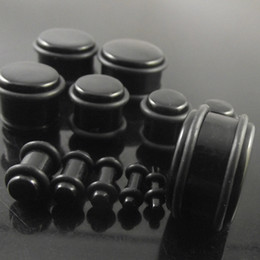 Wholesale Plug Earrings Free Shipping - 240pcs Black Ear Expander Fashion Spiral Ear Protector Flesh Tunnel Earring with Double O-Rings 12 sizes Set Ear Plugs free shipping