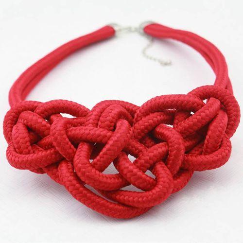 / comerciano la collana all'ingrosso del cuore della corda del cotone di scintillio fatto a mano di colore del commercio all'ingrosso libero di trasporto