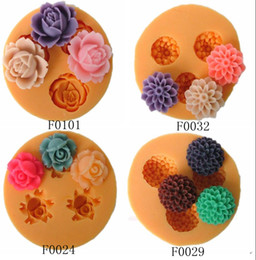 Wholesale Silicone Molds Fondant Flowers - mix order cute bakeware chocolate silicone flowers molds cake decorating tools soap candy fondant embossing mats