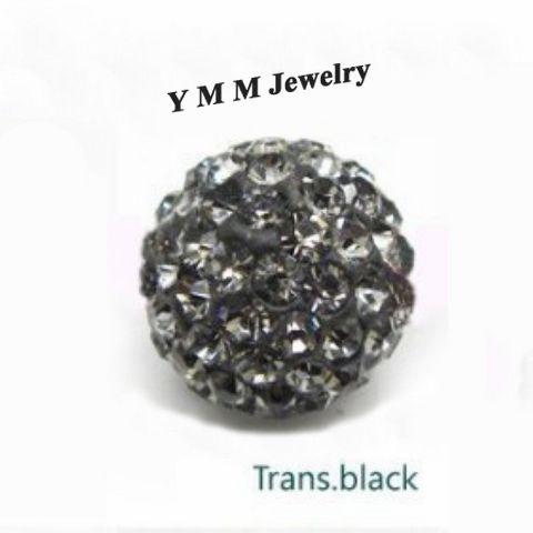 10mm Tansparent Noir Disco Ball Perles Perles Lâches Charme Perles