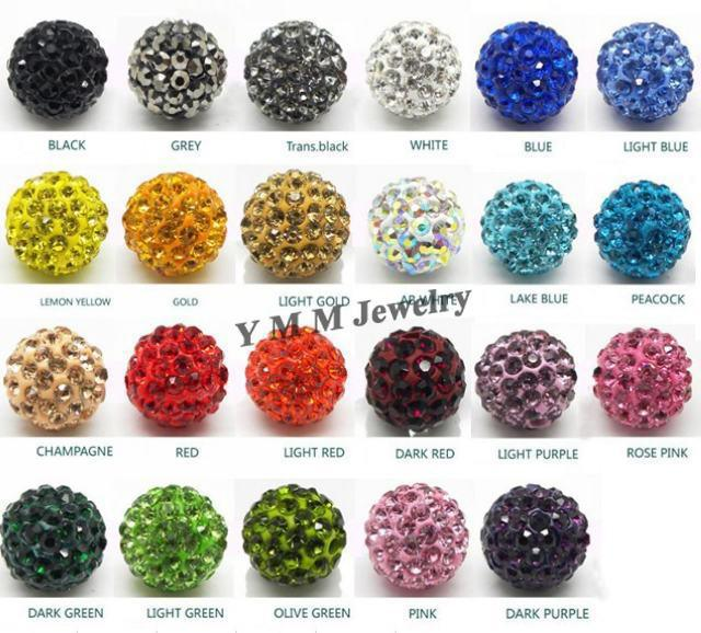 Wholesale 10mm Clay Pave Disco Ball Rhinestone Crystal Beads Mix Colours For DIY Free Ship