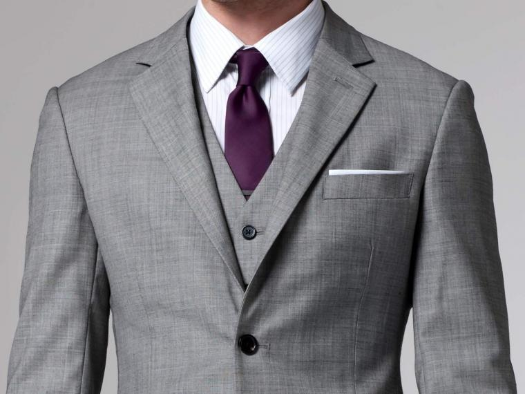 Mens Grey 3 Piece Wedding Suits Dress Yy