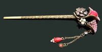 Wholesale Crystal Hair Stick Mix - Wholesale hot sell woman vintage zinc alloy rhinestone flower Hair sticks Hair fork hair jewelry Free shipping 12pcs lot Mixed colors AK087