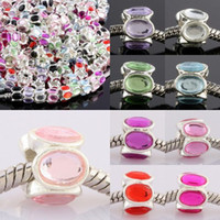 Wholesale Round Acrylic Beads European - DIY 10*8mm   Charm Mixed Color   Acrylic   European Big Hole Beads   Fit Bracelet Jewelry Finding 100pcs