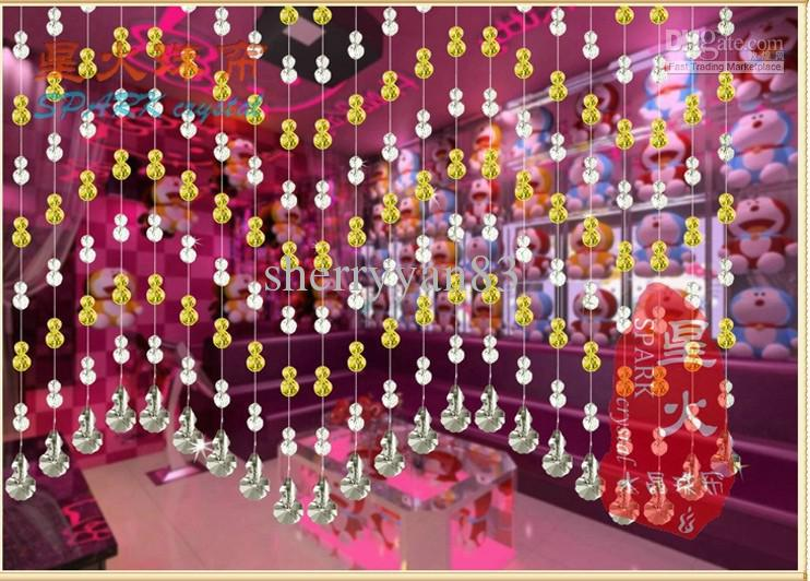 Amber Color Block Noble Crystal Bead Curtain Household Decorative ...