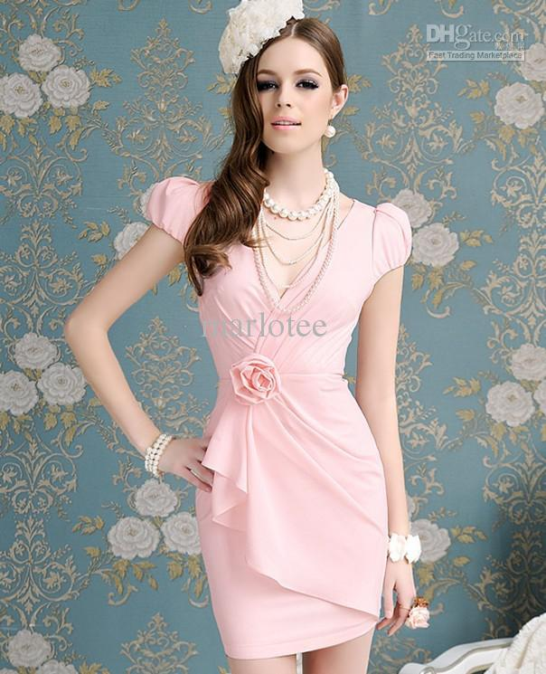 Fashion Dress Office Lady Work Dress Bodycon Pink Short Prom ...