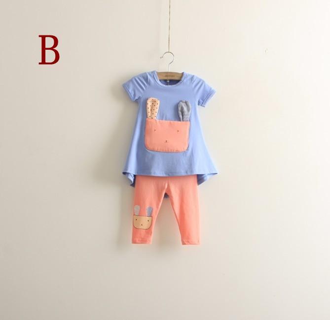 2013 T-shirt da ragazza Cat Short Tee + Leggings Sets Due pezzi bambini a maniche corte