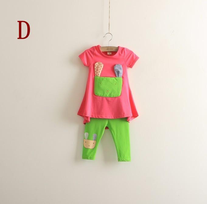2013 conjuntos de Tee da menina gato curto Tee + leggings define duas peças de manga curta roupas infantis