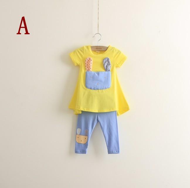 Ensembles de tee-shirt pour fille 2013 T-shirt court + legging pour chat Ensembles pour enfants à manches courtes en deux parties