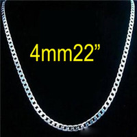 Wholesale Rhinestone Chain 4mm - Top Sale 925 Sterling silver 4mm Curb Chain necklace fashion men's necklace 22inch 56cm free shipping